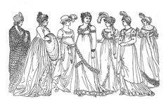 Coloring Pages of Victorian Ladies | ... Kids Printable - Regency Ladies Color Page - The Graphics Fairy