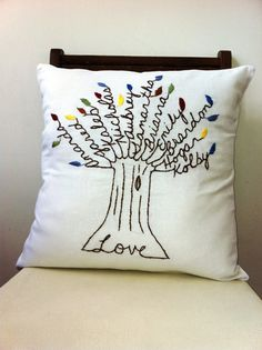 The Love Pillow Cover.  16 inch Pillow Cover.  Unique Birthday Gift.  Hand Embroidered. Christmas for Mom.
