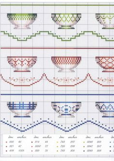 Cross Stitch Bowls Border