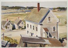 """House by 'Squam River, Gloucester (Cape Ann, Massachusetts),"" Edward Hopper, 1926, watercolor over graphite pencil on paper, 13 1/2 x 19 1/16"", Museum of Fine Arts, Boston."