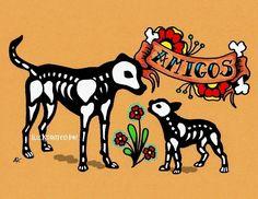 Dia de los Muertos Dogs AMIGOS Day of the Dead Art Print 5 x 7 - Donation to Austin Pets Alive. $10.50, via Etsy.