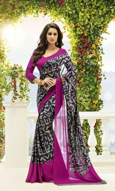 Buy best Black and Magenta #PrintedCrapeSaree at ishimaya with traditional pattern.