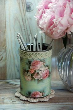 Vintage roses decoupaged, lace edged tin organiser with doily.  https://www.etsy.com/listing/191886269/vintage-cottage-roses-shabby-chic-style?ref=shop_home_active_3