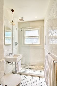 Another good layout for a small bathroom. Natural light is important.