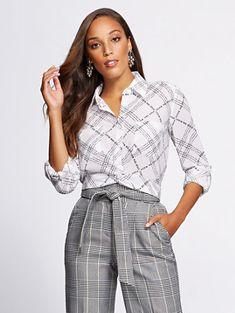 75312c38d0c White Twist-Front Shirt - Gabrielle Union Collection