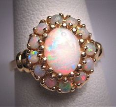 Antique Australian Opal Ring Vintage Art Deco