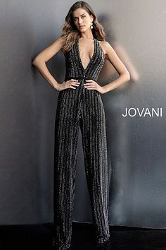 8eacd2a8fed3 Black Beaded Backless Low V Neck Prom Jumpsuit 65051