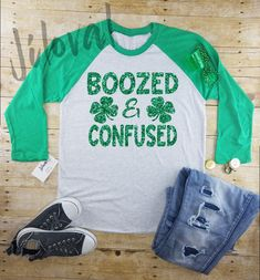 9bf55aa2 st Patrick's day Women's long sleeve|Boozed and Confused|drinking tee|Irish  shirt|funny shirt|St. Patty's Day||Long Sleeve Shirt