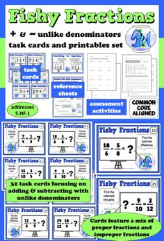 Help build your students' proficiency with adding and subtracting fractions with unlike denominators with this set of task cards and printables. $