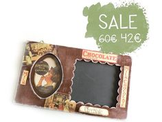Great #gift #formom or #forgranny this lovely #handmade #chalkboard with #photoframe is perfect for your #kitchen by verdesedano on @etsy #brown #chocolate #onsale