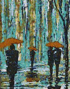 orange Umbrellas; painting