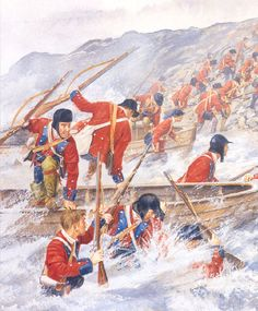 British troops landing to capture Lighthouse point at Louisbourg on 12th June 1758.