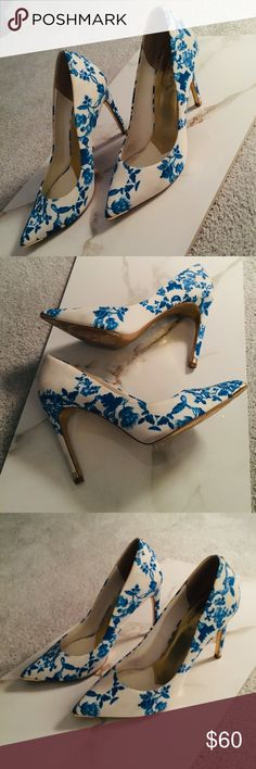 2c1f6b7e793 Ted Baker china white and blue pumps (size 40) These shoes are so beautiful