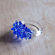Fab.com | Glass Cluster Ring Blue
