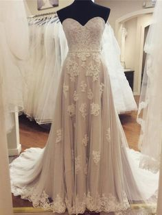 A-line Strapless Sweetheart Neck Lace Appliqued Chapel Train Wedding Dresses SWD0014