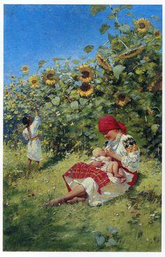All Things Ukrainian - Art - 'Mother' Folk Art Flowers, Flower Art, Illustrations, Illustration Art, Breastfeeding Art, Exotic Art, Ukrainian Art, Historical Art, Russian Art