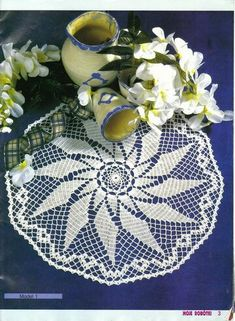 """Photo from album """"Moje robotki on Yandex. Crochet Tablecloth, Round Tablecloth, Crochet Doilies, Filet Crochet, Knit Crochet, Two Roses, Crochet Buttons, Lace Patterns, Journals"""