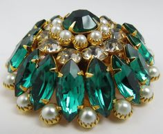 Signed Judy Lee Emerald Green Clear Rhinestone Faux Pearl Layered Pin via Etsy