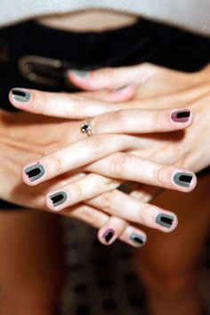 Wearable and easy enough to try!! Fashion Week Nail Trends Spring 2013:  - geometric look at Veda | The Fashion Spot