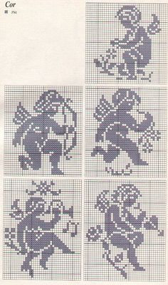 Can be used for filet crochet also. Stitch And Angel, Cross Stitch Angels, Cross Stitch Charts, Cross Stitch Designs, Cross Stitch Patterns, Filet Crochet, Crochet Diagram, Crochet Chart, Cross Stitching