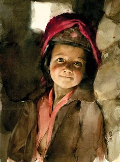 """Guan Weixing: """"First Look Onto the World"""", Chinese watercolor artist."""