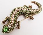 Vintage Signed Ciner Rhinestone Alligator Pin