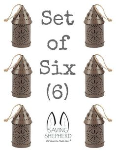 MINIATURE PUNCHED TIN LANTERNS Set of Six (6) Primitive Hanging Colonial Decor in Weathered Tin