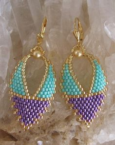Beadwork  Russian Leaf Earrings  Aqua/Purple by pattimacs on Etsy, $20.00