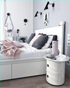 bedroom using ikea malm bed 22 Pastel Bedroom, Pink Bedroom Decor, Ikea Bedroom, Bedroom Bed, Bedrooms, White Bedroom, Cama Ikea, Room Ideias, Malm Bed