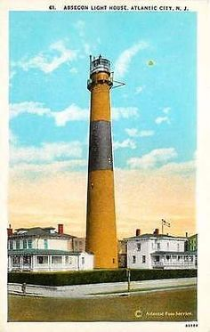 Atlantic City New Jersey 1921 Absecon Light House Collectible Vintage Postcard