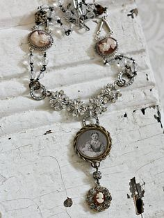 Antique Cameos and Loving Mother Portrait Necklace