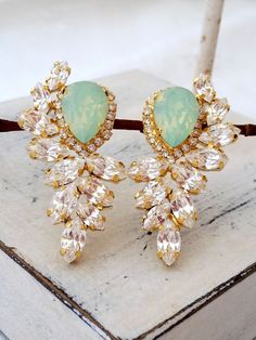 Mint opal and clear diamond Statement stud earrings, Extra large stud earrings, Swarovski crystal earrings, Bridal earrings, High fashion