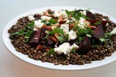 Green lentil and beetroot salad
