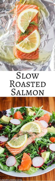 Slow Roasted Salmon - this is the easiest and best way to cook salmon - it is so moist and delicious! Sushi Recipes, Salmon Recipes, Dinner Recipes, Healthy Recipes, Dinner Ideas, Meal Ideas, 500 Calorie Dinners, Cooking Salmon, Cooking Fish