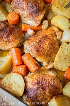 One Pot Chicken & Potatoes, simple & delicious dinner idea. Just toss in the baking dish with seasoning & roast! By LetTheBakingBeginBlog.com