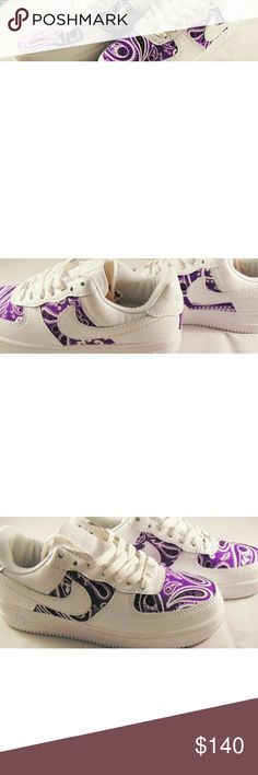 Nike Air force one with Custom purple design WOMANS NIKE AIR FORCE ONES WOMANS SIZE 7 CUSTOM MADE WITH PURPLE DESIGN BRAND NEW * NO BOX ( box was accidentally thrown away ) COMES IN BUBBLE WRAP AND NIKE PLASTIC BACK TO PROTECT THEM FROM GETTING DIRTY Nike Shoes Sneakers