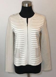 ST JOHN Womens Size 4 Shirt Khaki Tan Beige White Striped Full Zip Wool Top #StJohn #Turtleneck #Career