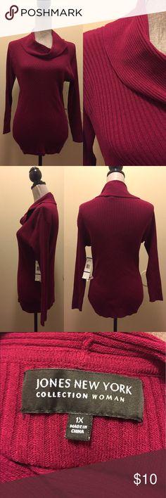 Jones New York Cowl Neck Sweater Burgundy Cowl Neck Sweater Jones New York Sweaters Cowl & Turtlenecks