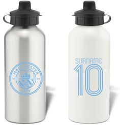 Keep yourself hydrated in style with your own personalised Manchester City Retro Shirt Water Bottle.