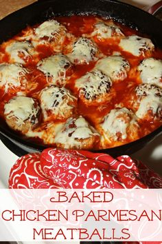 Baked Chicken Parmesan Meatballs - Simple and flavorful with just 6 classic ingredints! #BertolliTuscanWay
