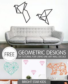 Download the free template and follow this simple tutorial to recreate some stunning wall art. For this and more ideas visit: http://www.blog.brightstarkids.com.au/ #diytutorial #geometricshapes #lineartwalldecal