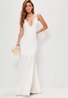 c633e39208d9 Bridal White Lace Criss Cross Bodice Maxi Dress. Wedding dress. This image  contains an