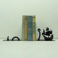 Sea Serpent Metal Art Bookends - Free USA Shipping