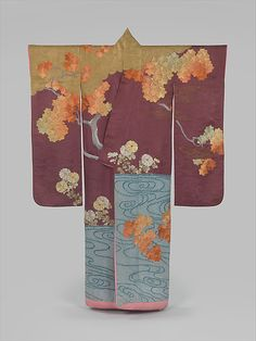 Outer Robe (Uchikake) with Maple Tree and River Period: Shōwa period (1926–1989) Date: first half of the 20th century Culture: Japan Medium: Resist-dyed silk satin damask embroidered with silk and metallic thread Accession Number: 62.180