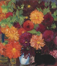 Still Life with Flowers and a black cat, Boris Israëlevich Anisfeld. American Painter, born in Russia (1878 - 1973)