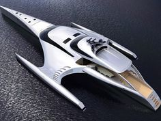 """The futuristic $14.5 million luxury trimaran yacht Adastra has turned heads during its unveiling ceremony in China. It took five years to plan and build and has been described by boating websites such as Boating International as one of the """"world's most amazing superyachts"""". At 42m-long and 16m-wide, the fuel-efficient boat weighs in at 52 tonnes. It can even be controlled with an Apple iPad within a 50m range."""