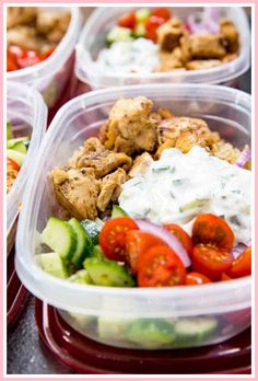 Greek Marinated Chicken cucumber salad tzatziki red onion and tomato served over brown rice. These are quick and easy to make and will help you be set for the week. Meal Prep Bowls, Easy Meal Prep, Healthy Meal Prep, Healthy Cooking, Healthy Eating, Healthy Recipes, Simple Recipes, Healthy Lunches, Lunch Meals