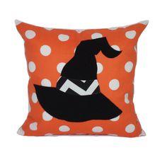 Halloween pillow, 18x18, Halloween decor, Witch pillow, Orange outdoor pillow cover, Porch pillow, Outdoor cushion, Patio pillows, Polka dot by PillowCorner on Etsy