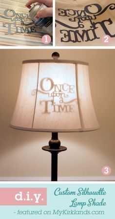 """How to create this """"Once upon a Time"""" lampshade (includes downloadable template). How perfect for any child's room? Could be customized to add any inspiring, fairy tale, dream-worthy quote to a lampshade for your child's room."""