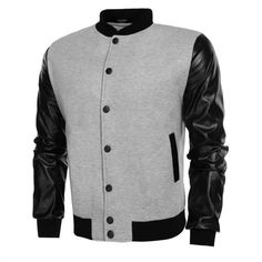 COOFANDY Men Fashion Casual Long Sleeve Synthetic Leather Patchwork Varsity Letterman Baseball Jacket $16.90